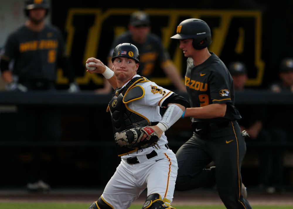 Iowa Hawkeyes catcher Tyler Cropley (5) against the Missouri Tigers Tuesday, May 1, 2018 at Duane Banks Field. (Brian Ray/hawkeyesports.com)