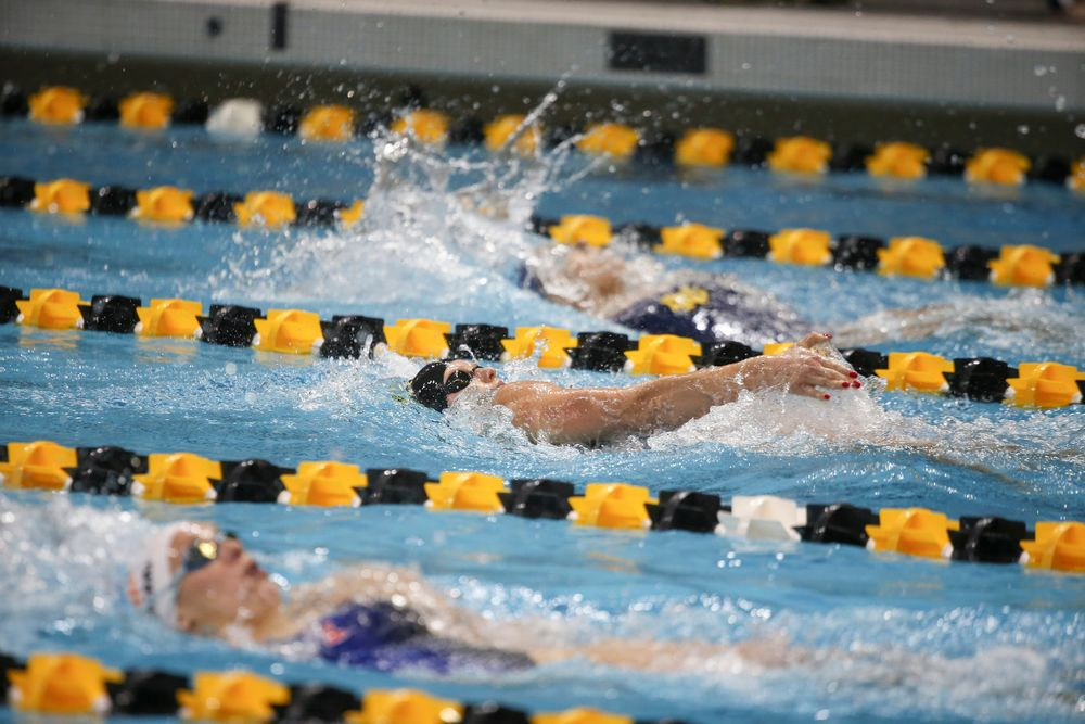 Iowa's Julia Koluch swims the 200-yard backstroke during the Iowa swimming and diving meet vs Notre Dame and Illinois on Saturday, January 11, 2020 at the Campus Recreation and Wellness Center. (Lily Smith/hawkeyesports.com)