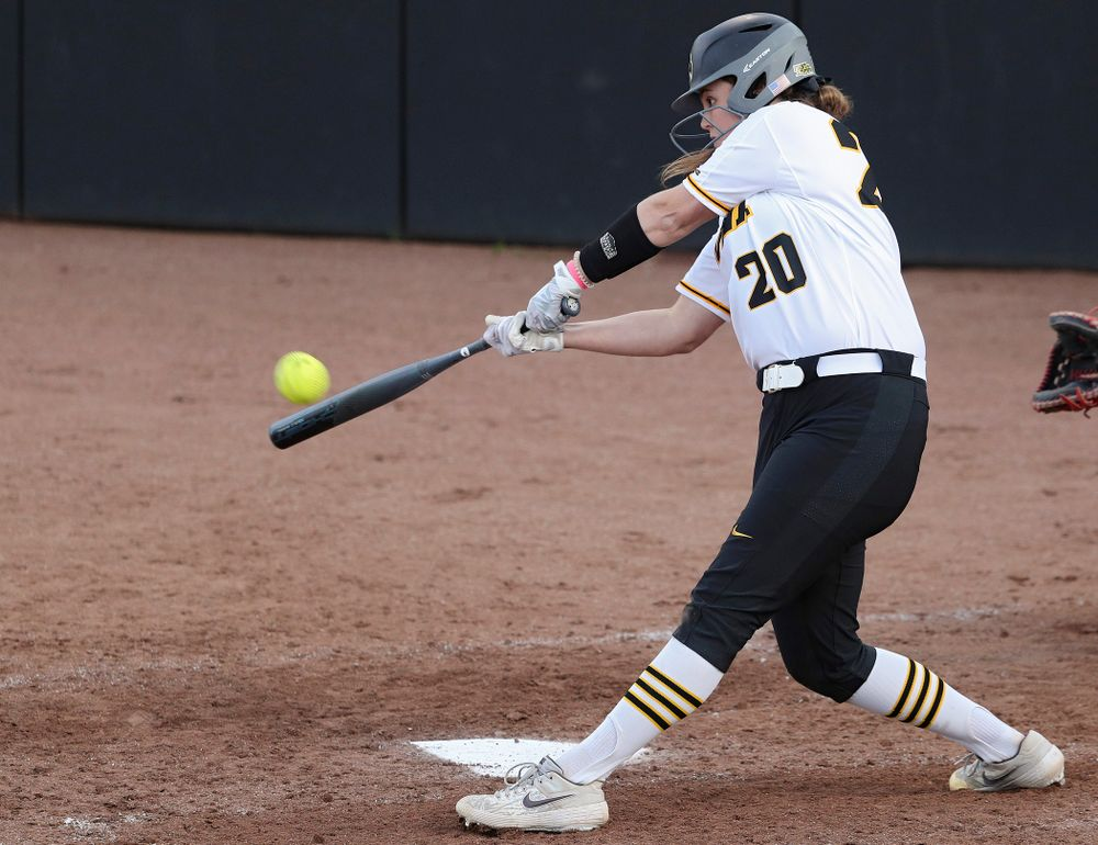 Iowa designated player Miranda Schulte (20) hits a home run during the sixth inning of their game against Ohio State at Pearl Field in Iowa City on Friday, May. 3, 2019. (Stephen Mally/hawkeyesports.com)
