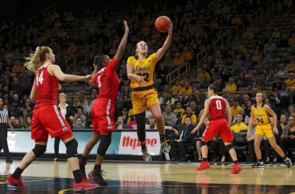 Iowa Hawkeyes guard Kathleen Doyle (22) makes a basket during the fourth quarter of their game at Carver-Hawkeye Arena in Iowa City on Thursday, January 23, 2020. (Stephen Mally/hawkeyesports.com)