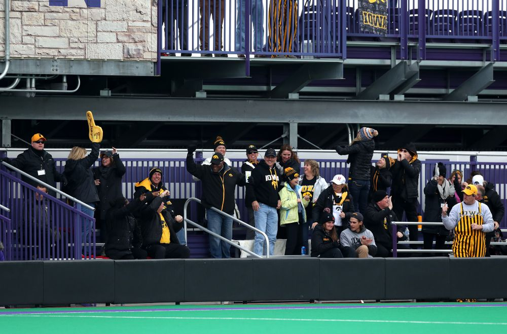 Fans of the Iowa Hawkeyes cheer on the team against the Michigan Wolverines in the semi-finals of the Big Ten Tournament Friday, November 2, 2018 at Lakeside Field on the campus of Northwestern University in Evanston, Ill. (Brian Ray/hawkeyesports.com)