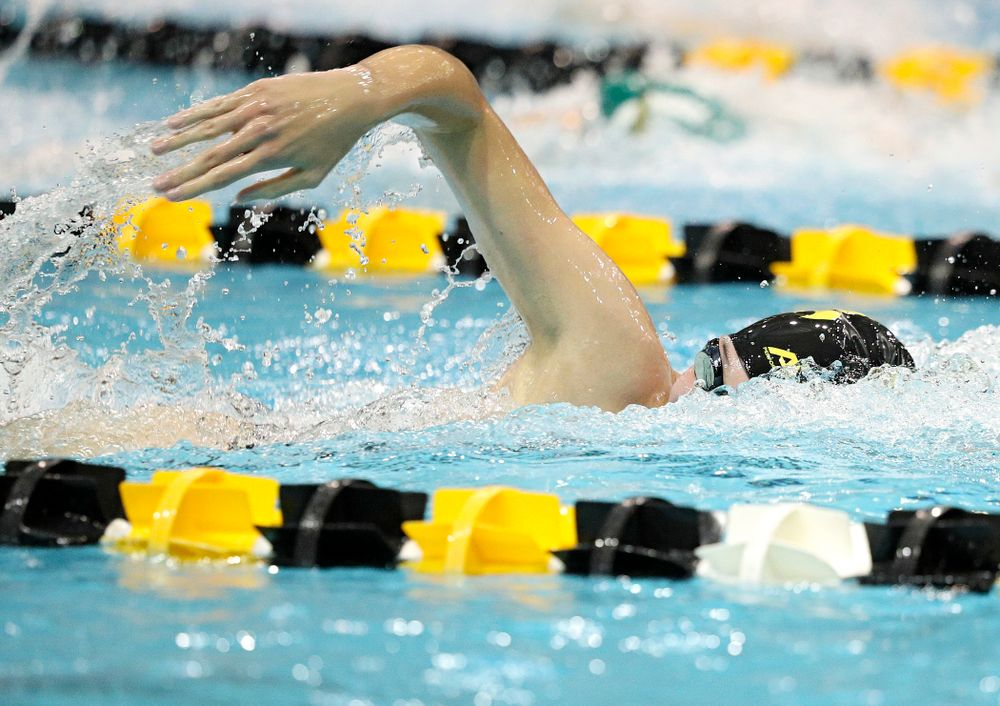 Iowa's Allyssa Fluit swims the freestyle section of the 100-yard individual medley event during their meet against Michigan State at the Campus Recreation and Wellness Center in Iowa City on Thursday, Oct 3, 2019. (Stephen Mally/hawkeyesports.com)