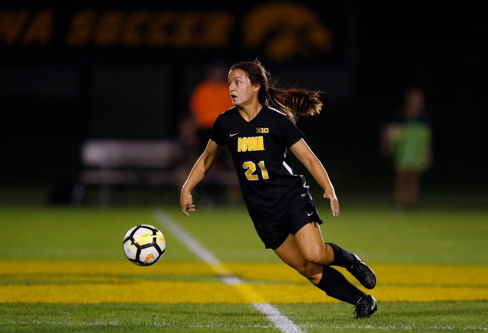 Iowa Hawkeyes Emma Tokuyama (21) against the Purdue Boilermakers Thursday, September 20, 2018 at the Iowa Soccer Complex. (Brian Ray/hawkeyesports.com)