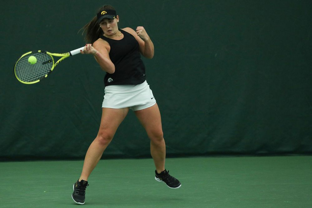 during the Iowa women's tennis meet vs DePaul  on Friday, February 21, 2020 at the Hawkeye Tennis and Recreation Complex. (Lily Smith/hawkeyesports.com)