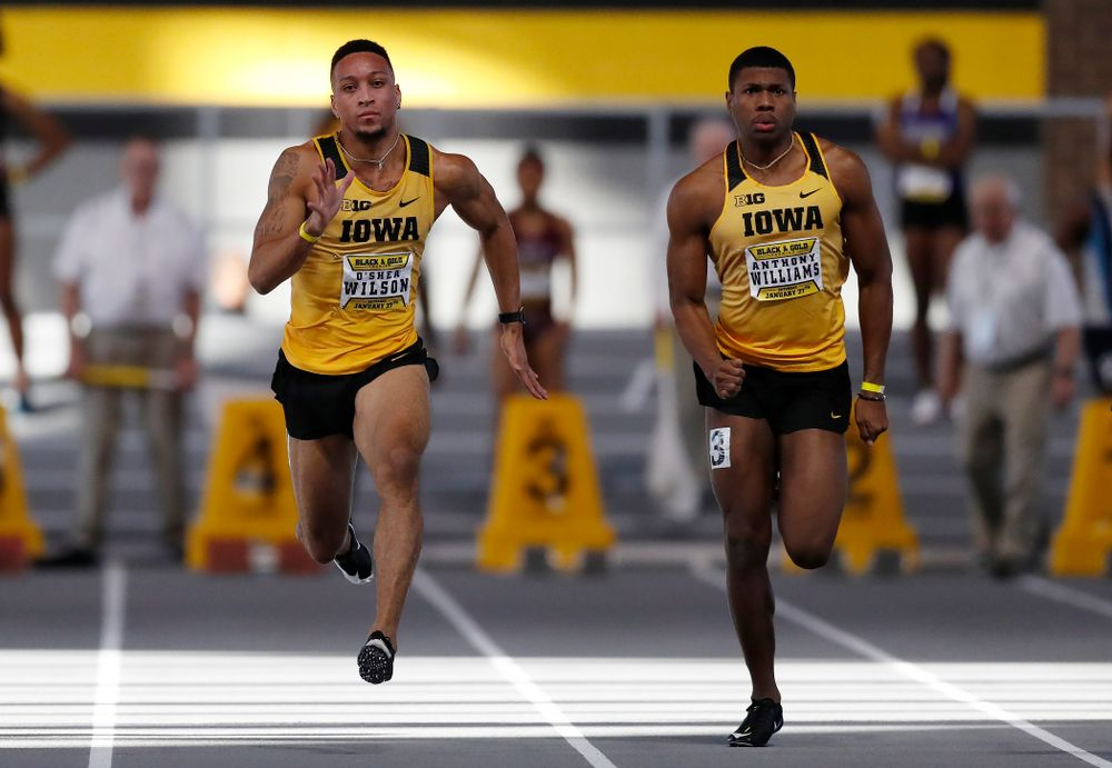 O'Shea Wilson and Anthony Williams compete in 60 meter dash