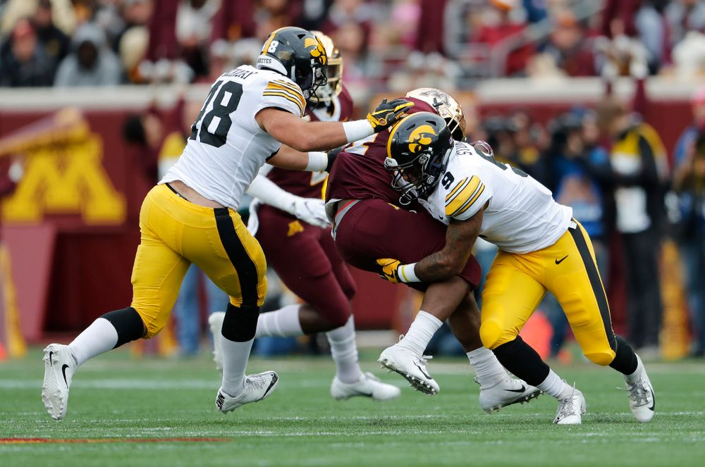 Iowa Hawkeyes defensive back Geno Stone (9) against the Minnesota Golden Gophers Saturday, October 6, 2018 at TCF Bank Stadium. (Brian Ray/hawkeyesports.com)