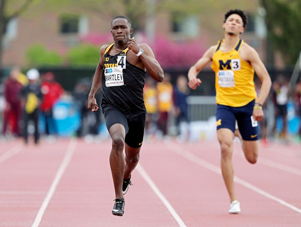 Iowa's Karayme Bartley runs the men's 400 meter dash event on the second day of the Big Ten Outdoor Track and Field Championships at Francis X. Cretzmeyer Track in Iowa City on Saturday, May. 11, 2019. (Stephen Mally/hawkeyesports.com)