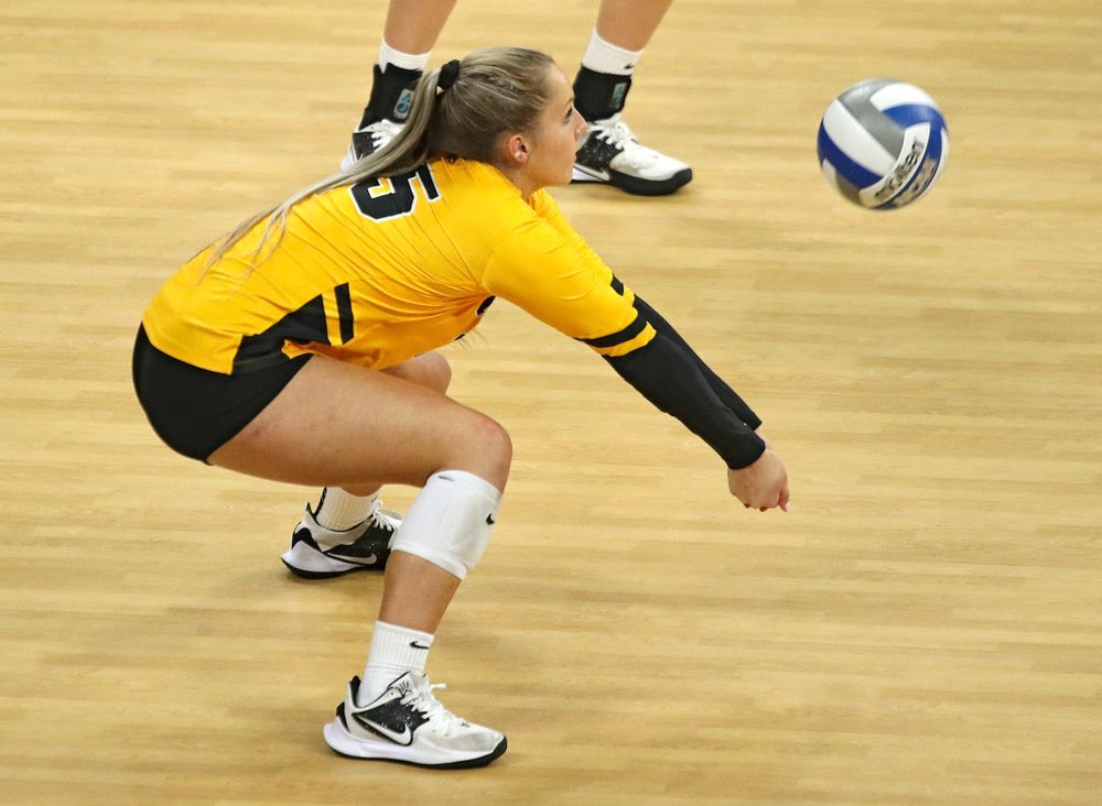 Iowa's Maddie Slagle (15) gets a dig during their match at Carver-Hawkeye Arena in Iowa City on Sunday, Oct 20, 2019. (Stephen Mally/hawkeyesports.com)