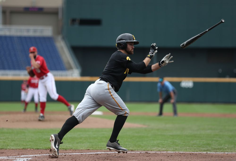 Iowa Hawkeyes outfielder Justin Jenkins (6) against the Nebraska Cornhuskers in the first round of the Big Ten Baseball Tournament Friday, May 24, 2019 at TD Ameritrade Park in Omaha, Neb. (Brian Ray/hawkeyesports.com)