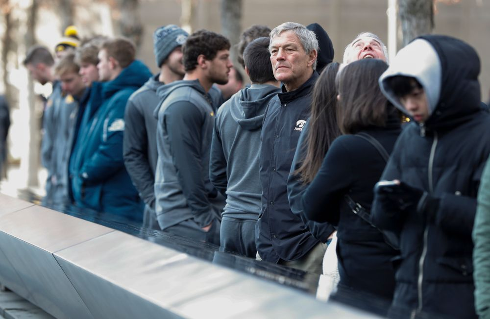 Iowa Hawkeyes head coach Kirk Ferentz as the team visits the observation deck of the One World Trade Center and the 9/11 Memorial and Museum.