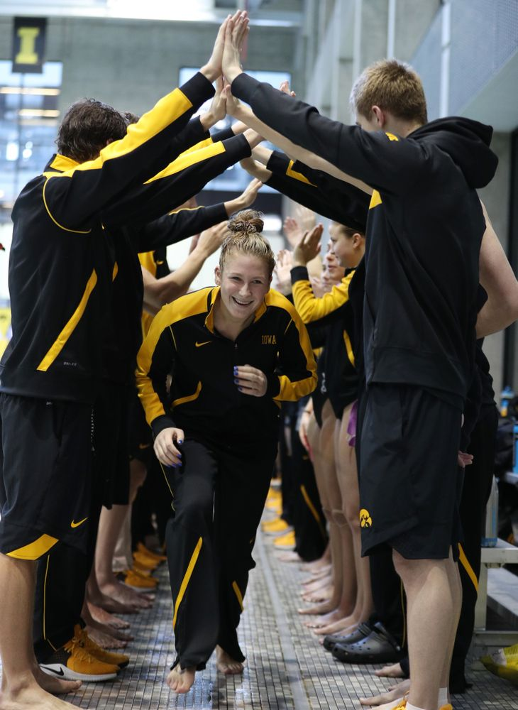 Abby Schneider is introduced during senior day before a double dual against Wisconsin and Northwestern Saturday, January 19, 2019 at the Campus Recreation and Wellness Center. (Brian Ray/hawkeyesports.com)