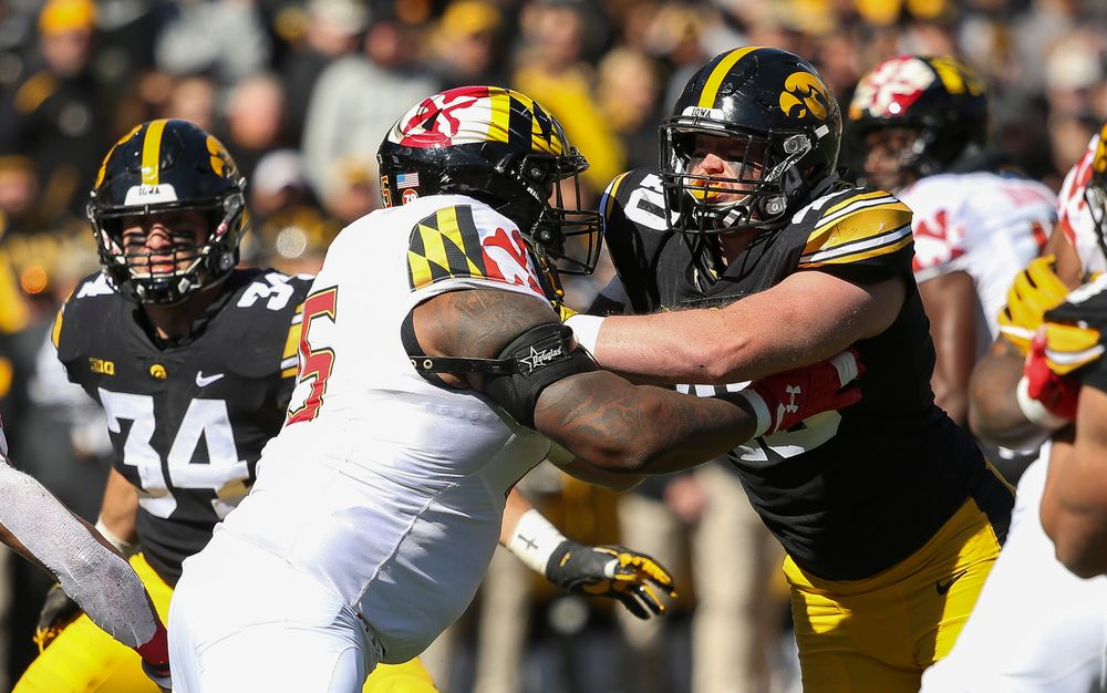 Iowa Hawkeyes defensive end Parker Hesse (40) rushes the quarterback during a game against Maryland at Kinnick Stadium on October 20, 2018. (Tork Mason/hawkeyesports.com)