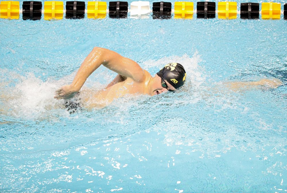Iowa's Evan Holt swims the men's 1000-yard freestyle event during their meet against Michigan State and Northern Iowa at the Campus Recreation and Wellness Center in Iowa City on Friday, Oct 4, 2019. (Stephen Mally/hawkeyesports.com)