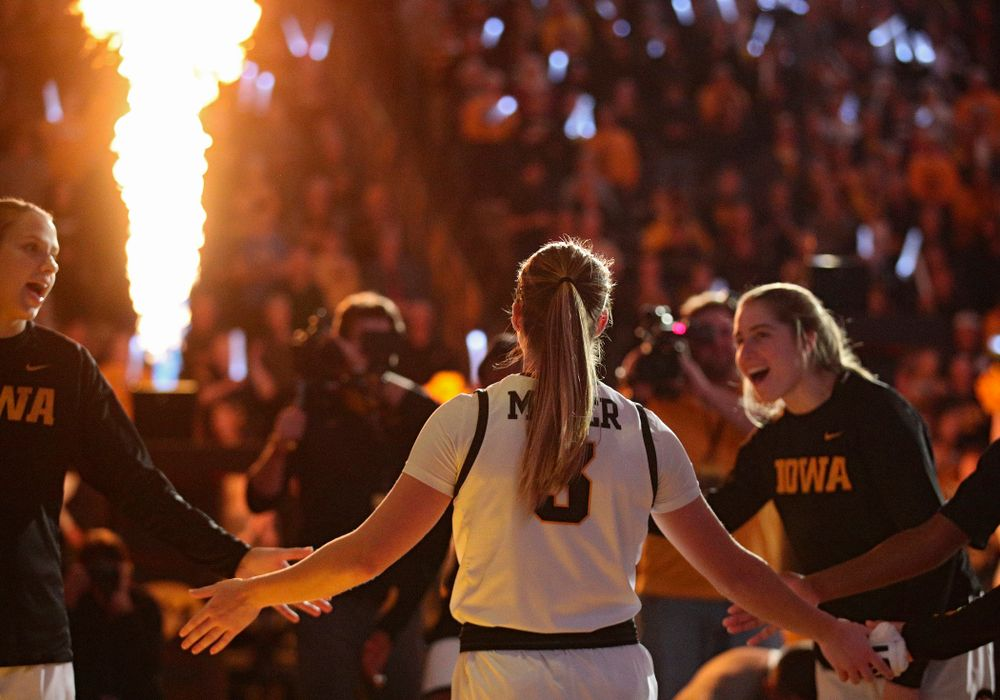 Iowa Hawkeyes guard Makenzie Meyer (3) is introduced before the game at Carver-Hawkeye Arena in Iowa City on Thursday, February 6, 2020. (Stephen Mally/hawkeyesports.com)