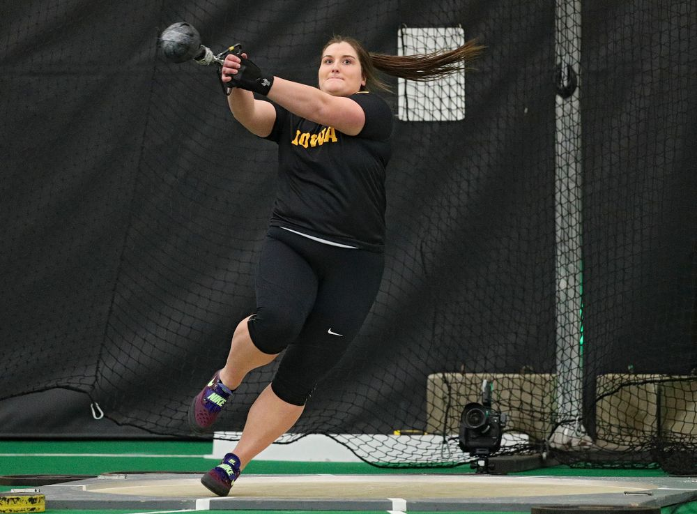 Iowa's Jamie Kofron throws in the women's weight throw event during the Larry Wieczorek Invitational at the Hawkeye Tennis and Recreation Complex in Iowa City on Friday, January 17, 2020. (Stephen Mally/hawkeyesports.com)