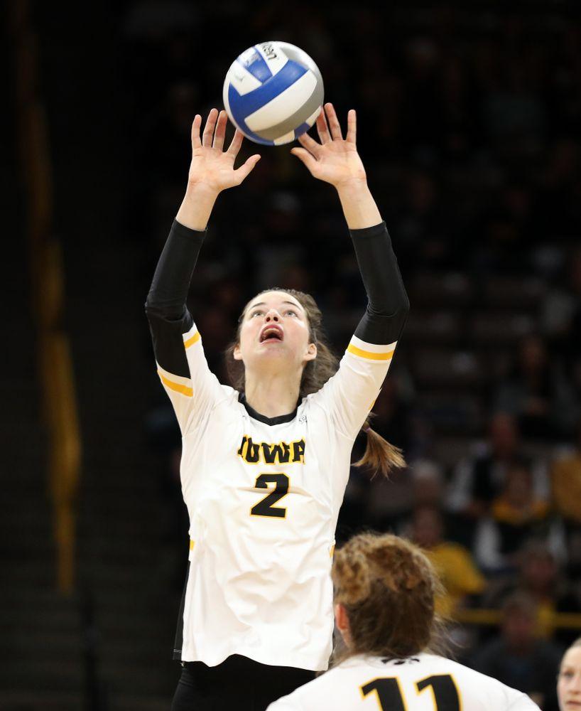 Iowa Hawkeyes setter Courtney Buzzerio (2) against Penn State Friday, November 1, 2019 at Carver Hawkeye Arena. (Brian Ray/hawkeyesports.com)