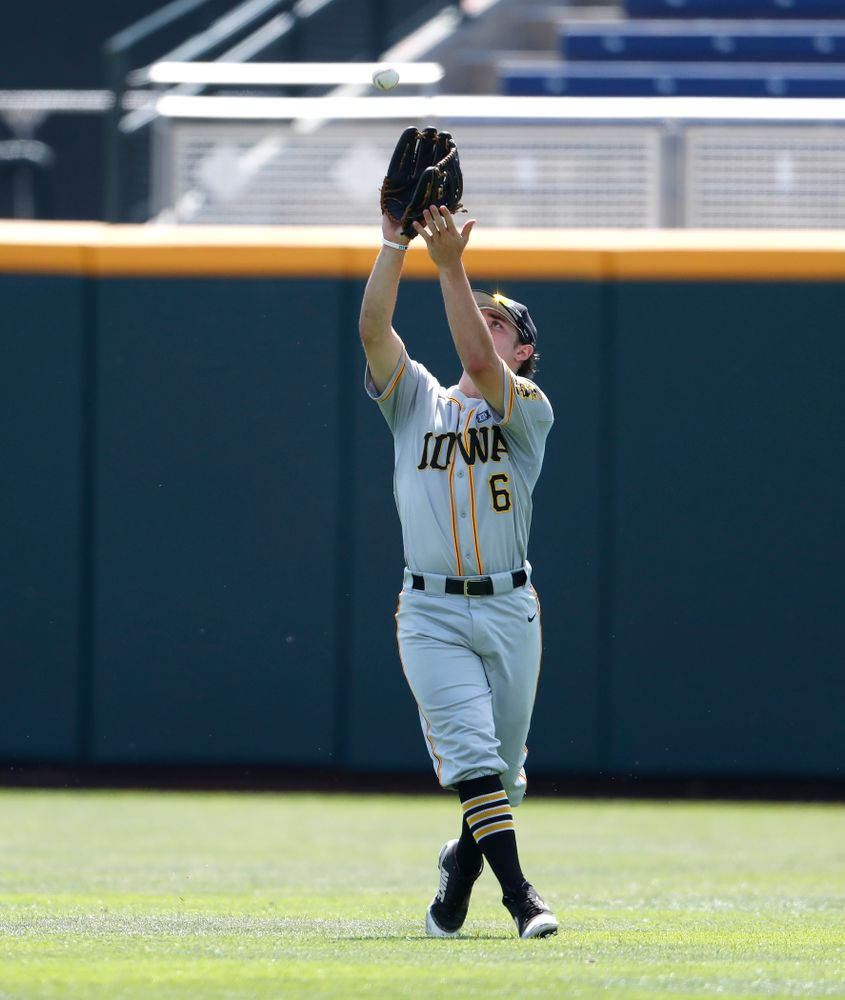 Iowa Hawkeyes outfielder Justin Jenkins (6) against the Michigan Wolverines in the first round of the Big Ten Baseball Tournament  Wednesday, May 23, 2018 at TD Ameritrade Park in Omaha, Neb. (Brian Ray/hawkeyesports.com)