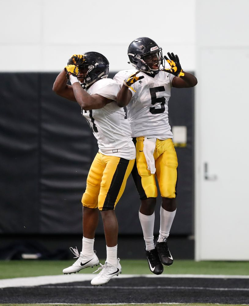Iowa Hawkeyes defensive back Cedric Boswell (17) and defensive back Manny Rugamba (5) Wednesday, April 4, 2018 at the Hansen Football Performance Center. (Brian Ray/hawkeyesports.com)