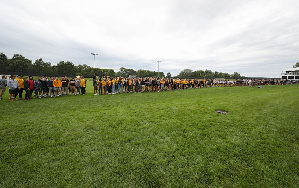 Student-athletes in the Parade of Champions during the Student-Athlete Kickoff at the Iowa Soccer Complex in Iowa City on Sunday, Aug 25, 2019. (Stephen Mally/hawkeyesports.com)