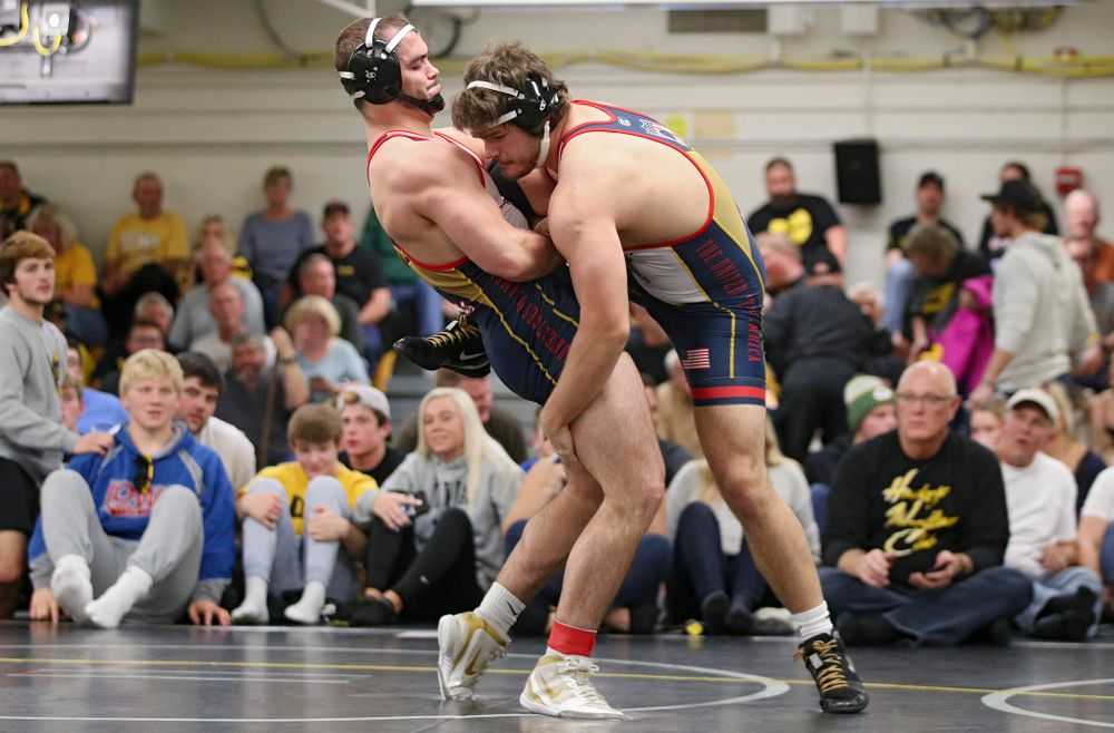 Iowa's Steven Holloway (from left) controls the leg of Cade Brownlee during their preseason match at the Dan Gable Wrestling Complex at Carver-Hawkeye Arena in Iowa City on Friday, Nov 8, 2019. (Stephen Mally/hawkeyesports.com)