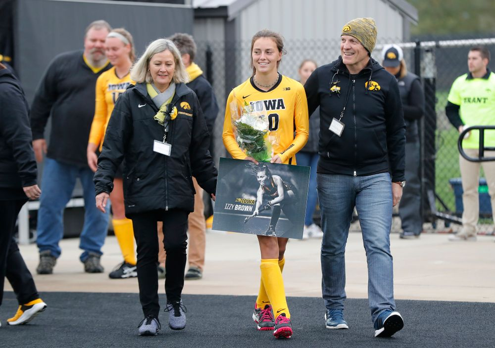 Iowa Hawkeyes Isabella Brown (10) during senior day before their game against Maryland Sunday, October 14, 2018 at Grant Field. (Brian Ray/hawkeyesports.com)