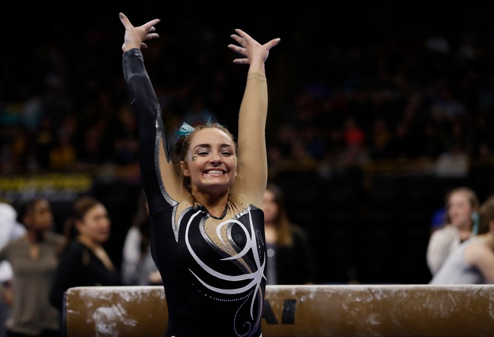 Iowa's Bre Fitzke competes on the beam against the Nebraska Cornhuskers