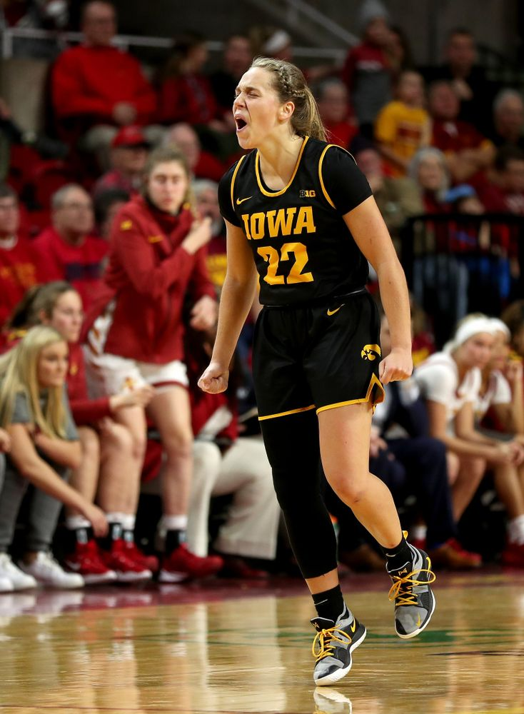 Iowa Hawkeyes guard Kathleen Doyle (22) celebrates at the end of the game against the Iowa State Cyclones Wednesday, December 11, 2019 at Hilton Coliseum in Ames, Iowa(Brian Ray/hawkeyesports.com)