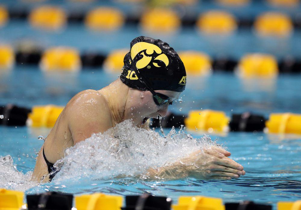 IowaÕs Aleksandra Olesiak swims the 200 yard breaststroke against the Michigan Wolverines Friday, November 1, 2019 at the Campus Recreation and Wellness Center. (Brian Ray/hawkeyesports.com)