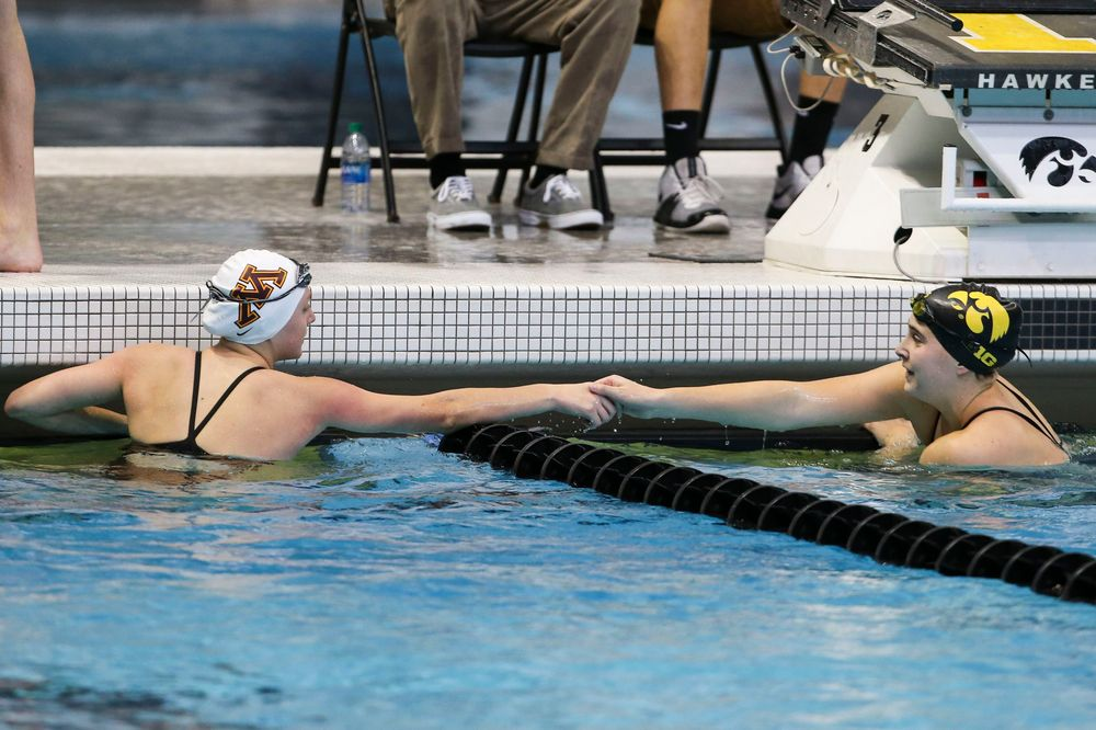 Iowa's Maddie Ziegert during Iowa swim and dive vs Minnesota on Saturday, October 26, 2019 at the Campus Wellness and Recreation Center. (Lily Smith/hawkeyesports.com)
