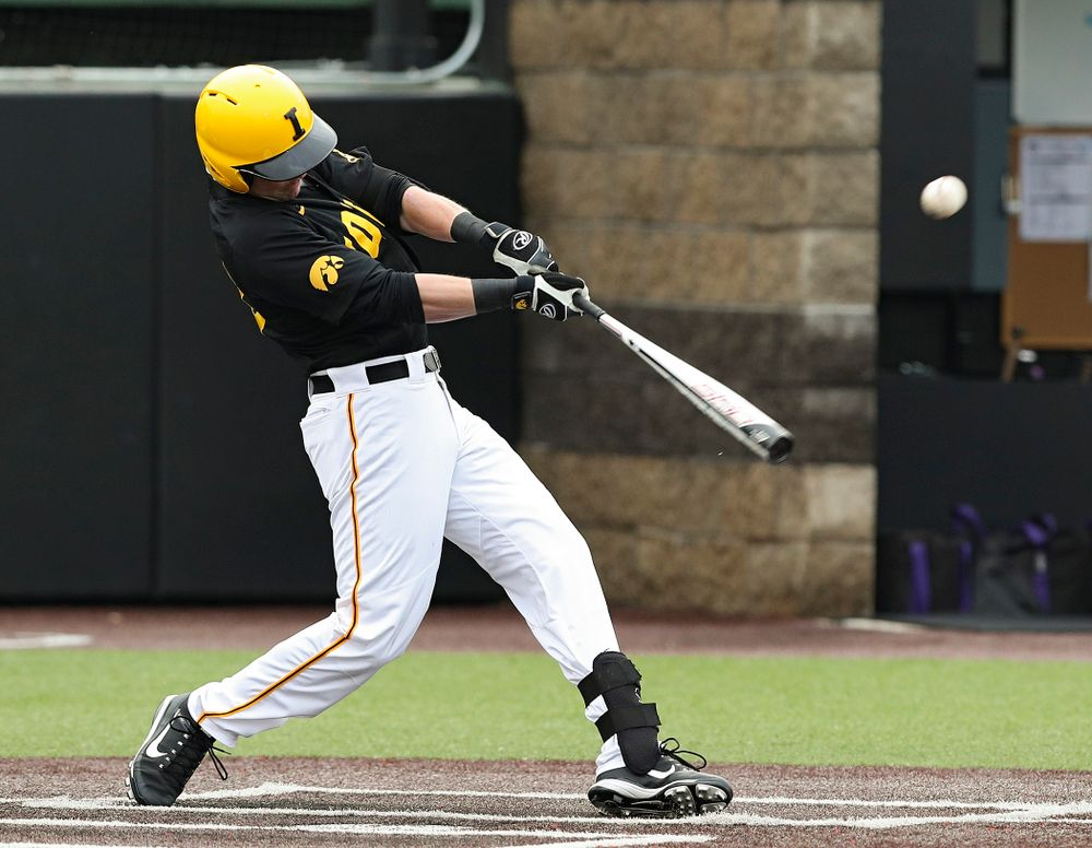 Iowa Hawkeyes left fielder Chris Whelan (28) drives a pitch for a hit during the first inning of their game against Western Illinois at Duane Banks Field in Iowa City on Wednesday, May. 1, 2019. (Stephen Mally/hawkeyesports.com)