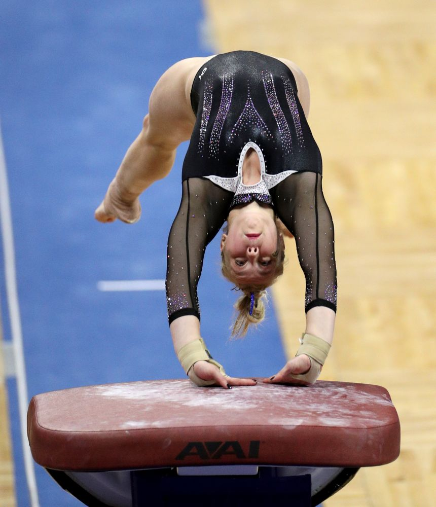 Iowa's Madelyn Solomon competes on the vault against Michigan State Saturday, February 1, 2020 at Carver-Hawkeye Arena. (Brian Ray/hawkeyesports.com)
