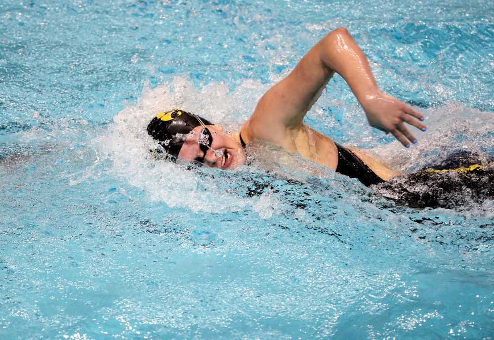 Iowa's Sarah Schemmel swims the 100-yard freestyle against the Iowa State Cyclones in the Iowa Corn Cy-Hawk Series Friday, December 7, 2018 at at the Campus Recreation and Wellness Center. (Brian Ray/hawkeyesports.com)