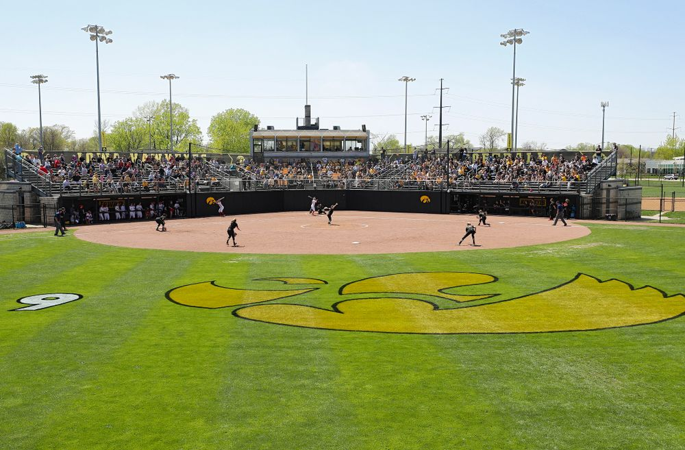 The Iowa Hawkeyes field during the fourth inning of their game against Ohio State at Pearl Field in Iowa City on Saturday, May. 4, 2019. (Stephen Mally/hawkeyesports.com)