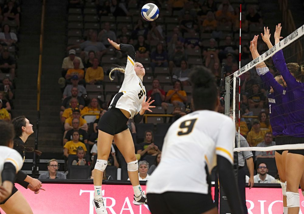 Iowa's Kyndra Hansen (8) goes up for a shot during their Big Ten/Pac-12 Challenge match at Carver-Hawkeye Arena in Iowa City on Saturday, Sep 7, 2019. (Stephen Mally/hawkeyesports.com)