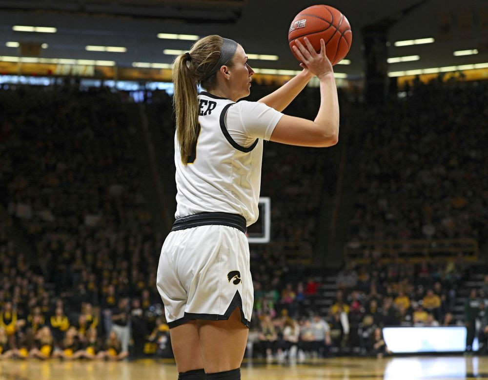 Iowa Hawkeyes guard Makenzie Meyer (3) puts up a 3-point shot during the third quarter of their game at Carver-Hawkeye Arena in Iowa City on Sunday, January 26, 2020. (Stephen Mally/hawkeyesports.com)