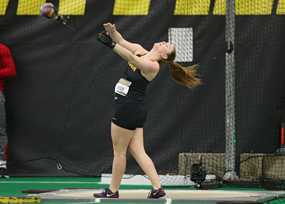 Iowa's Amanda Howe throws in the women's weight throw event during the Larry Wieczorek Invitational at the Hawkeye Tennis and Recreation Complex in Iowa City on Friday, January 17, 2020. (Stephen Mally/hawkeyesports.com)