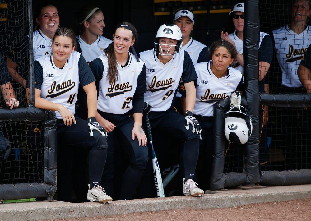 Iowa Hawkeyes infielder Taylor Libby (4), Iowa Hawkeyes catcher Angela Schmiederer (12), Iowa Hawkeyes infielder Sarah Kurtz (9), Iowa Hawkeyes infielder Lea Thompson (7)