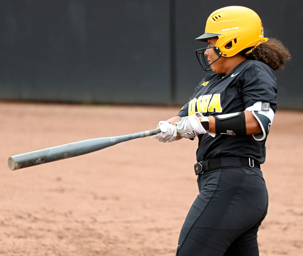 Iowa infielder Avery Guy (11) bats during the fourth inning of their game against Iowa Softball vs Indian Hills Community College at Pearl Field in Iowa City on Sunday, Oct 6, 2019. (Stephen Mally/hawkeyesports.com)