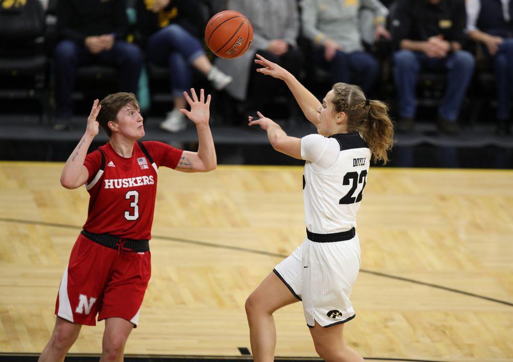 Iowa Hawkeyes guard Kathleen Doyle (22) against the Nebraska Cornhuskers Thursday, January 3, 2019 at Carver-Hawkeye Arena. (Brian Ray/hawkeyesports.com)