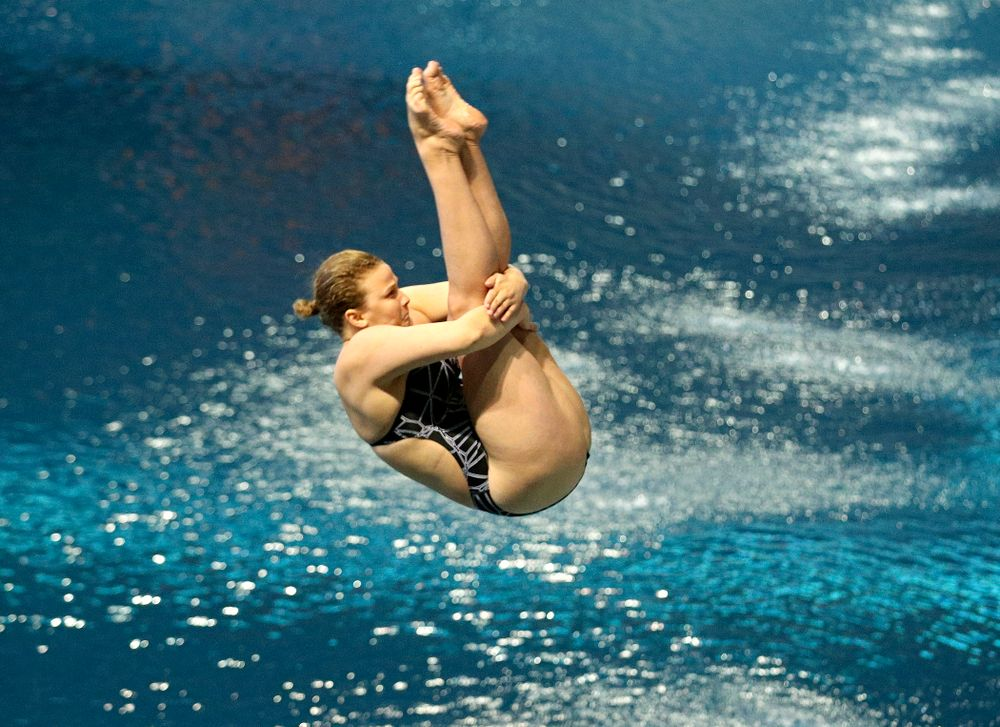 Iowa's Claire Park competes in the women's 1 meter diving preliminary event during the 2020 Women's Big Ten Swimming and Diving Championships at the Campus Recreation and Wellness Center in Iowa City on Thursday, February 20, 2020. (Stephen Mally/hawkeyesports.com)