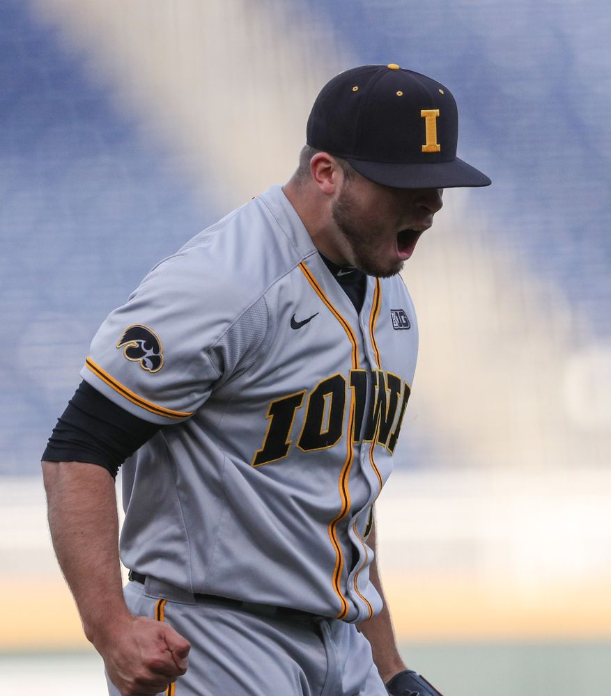 Iowa Hawkeyes Cole McDonald (11) reacts after a strikeout to end an inning against the Indiana Hoosiers in the first round of the Big Ten Baseball Tournament Wednesday, May 22, 2019 at TD Ameritrade Park in Omaha, Neb. (Brian Ray/hawkeyesports.com)
