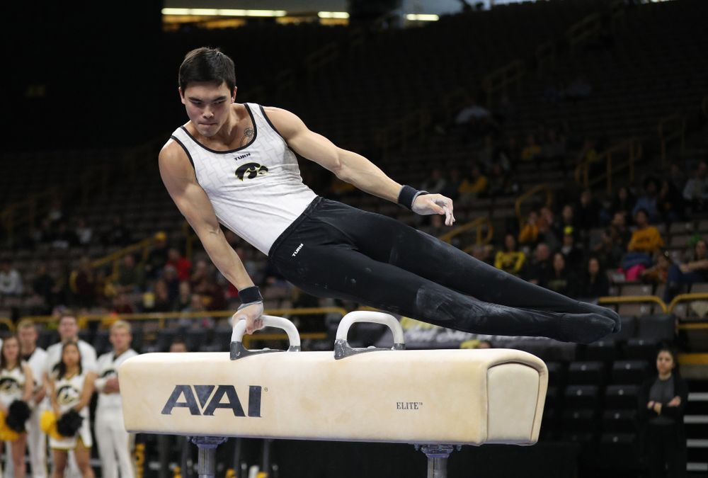 Iowa's Ethan Davis competes on the pommel horse against UIC and Minnesota Saturday, February 2, 2019 at Carver-Hawkeye Arena. (Brian Ray/hawkeyesports.com)