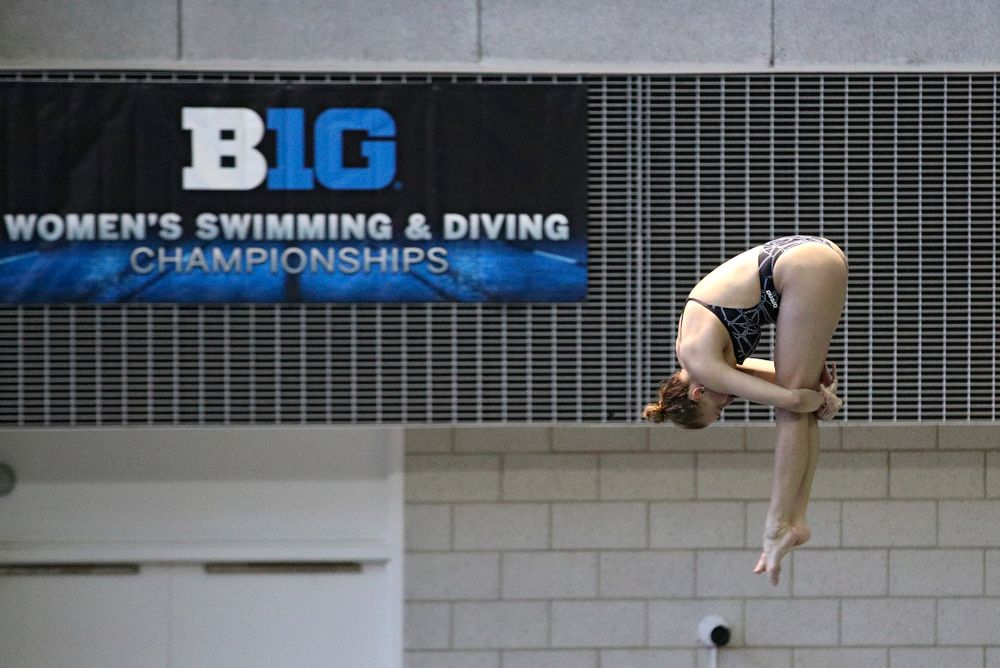 Iowa's Samantha Tamborski competes in the women's 3 meter diving preliminary event during the 2020 Women's Big Ten Swimming and Diving Championships at the Campus Recreation and Wellness Center in Iowa City on Friday, February 21, 2020. (Stephen Mally/hawkeyesports.com)