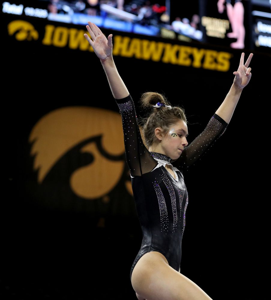 Iowa's Bridget Killian competes on the beam against Michigan State Saturday, February 1, 2020 at Carver-Hawkeye Arena. (Brian Ray/hawkeyesports.com)