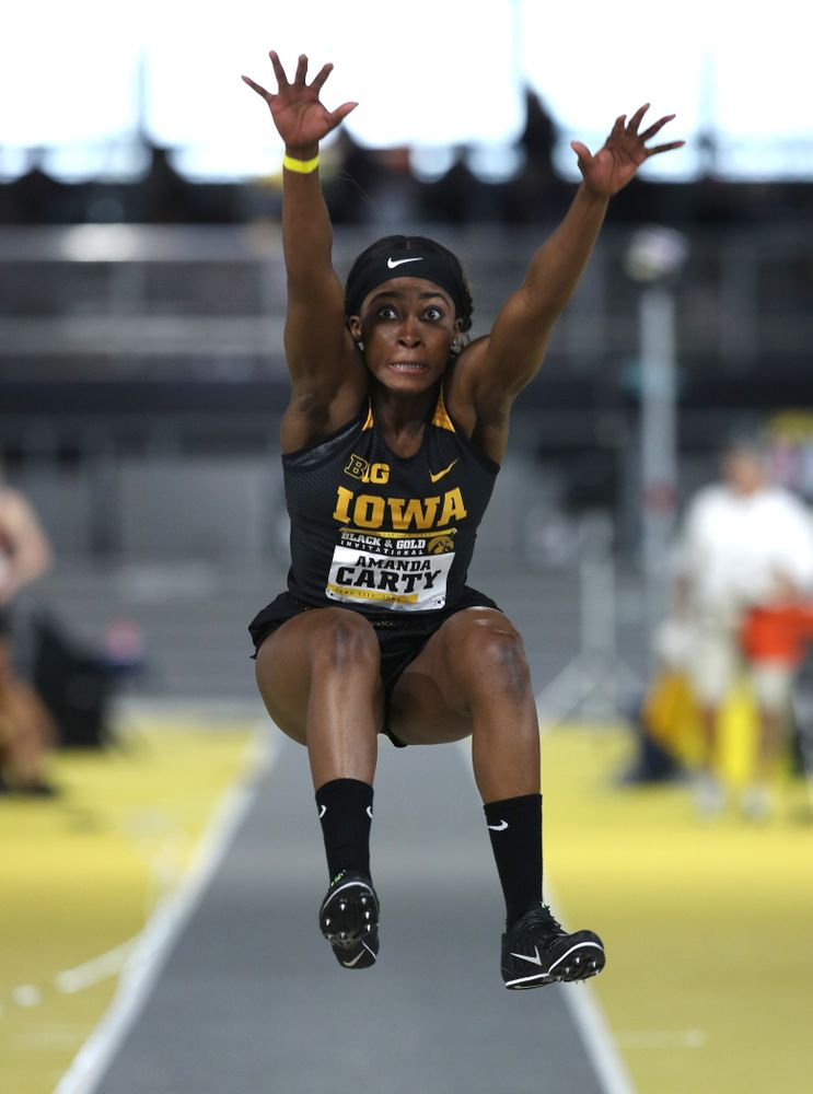 Iowa's Amanda Carty competes in the long jump during the Black and Gold Premier meet Saturday, January 26, 2019 at the Recreation Building. (Brian Ray/hawkeyesports.com)