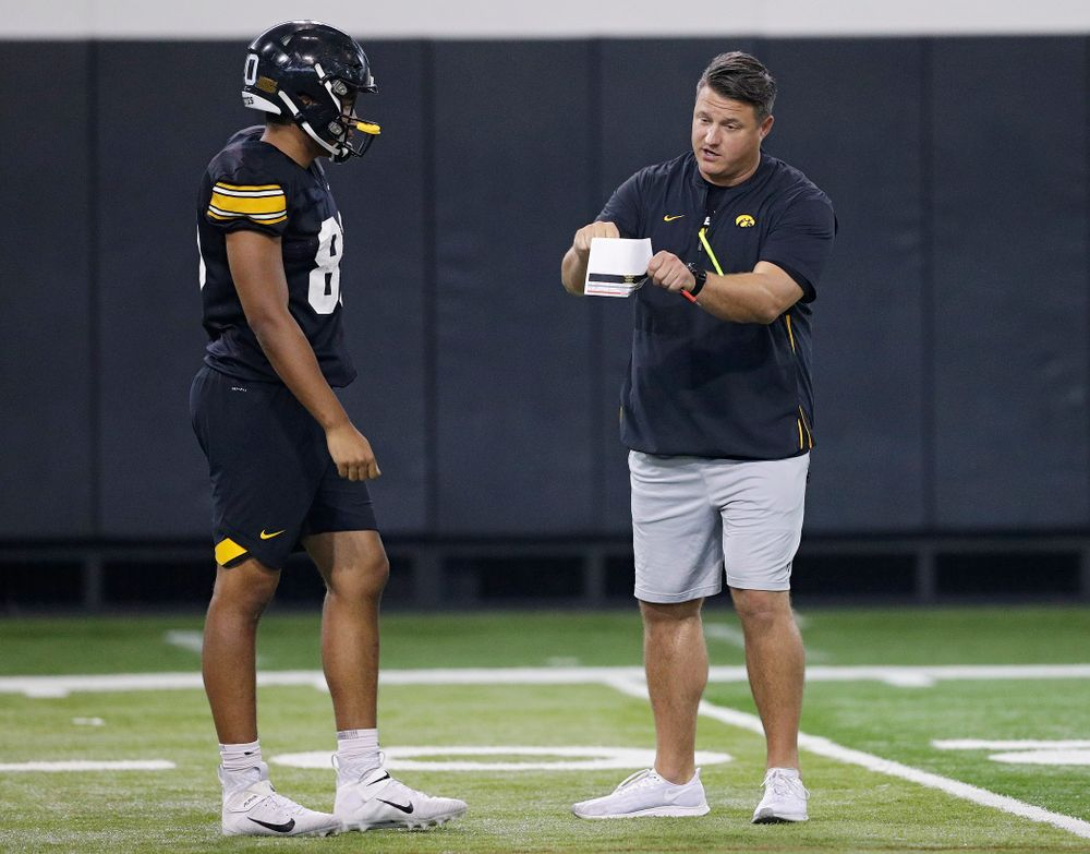 Iowa Hawkeyes tight end Josiah Miamen (80) listens to offensive coordinator Brian Ferentz  during Fall Camp Practice No. 9 at the Hansen Football Performance Center in Iowa City on Monday, Aug 12, 2019. (Stephen Mally/hawkeyesports.com)