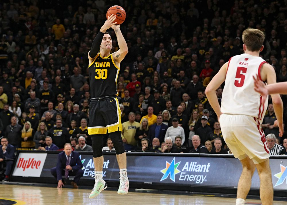 Iowa Hawkeyes guard Connor McCaffery (30) puts up a shot during the second half of their game at Carver-Hawkeye Arena in Iowa City on Monday, January 27, 2020. (Stephen Mally/hawkeyesports.com)