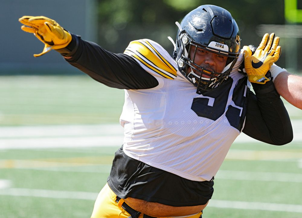 Iowa Hawkeyes defensive lineman Noah Shannon (99) runs a drill during Fall Camp Practice #5 at the Hansen Football Performance Center in Iowa City on Tuesday, Aug 6, 2019. (Stephen Mally/hawkeyesports.com)