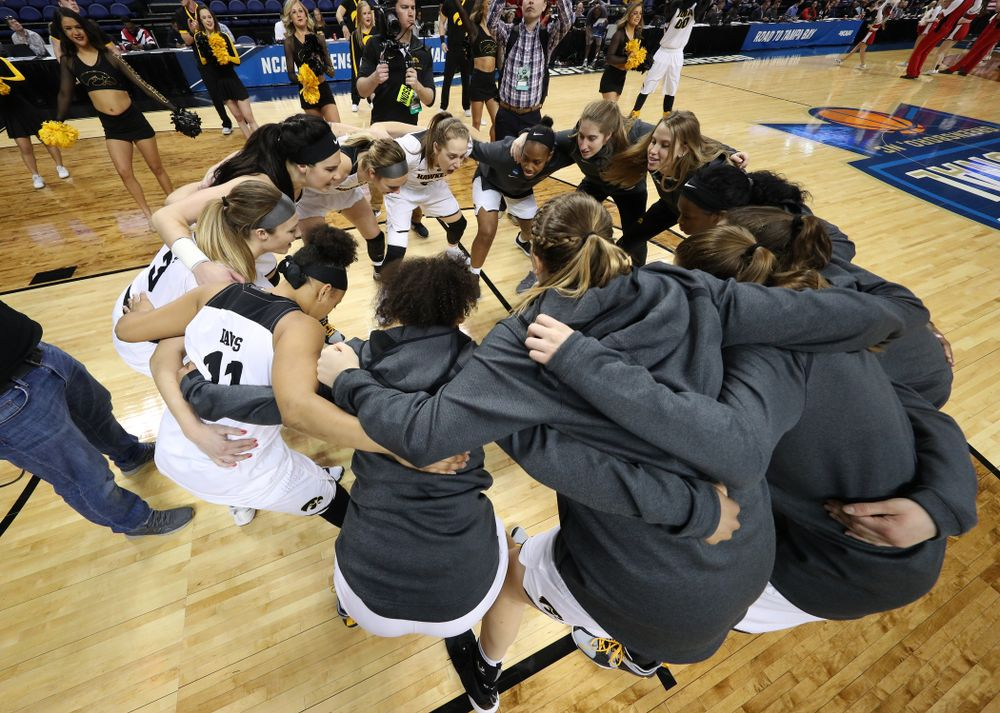 The Iowa Hawkeyes against the NC State Wolfpack in the regional semi-final of the 2019 NCAA Women's College Basketball Tournament Saturday, March 30, 2019 at Greensboro Coliseum in Greensboro, NC.(Brian Ray/hawkeyesports.com)
