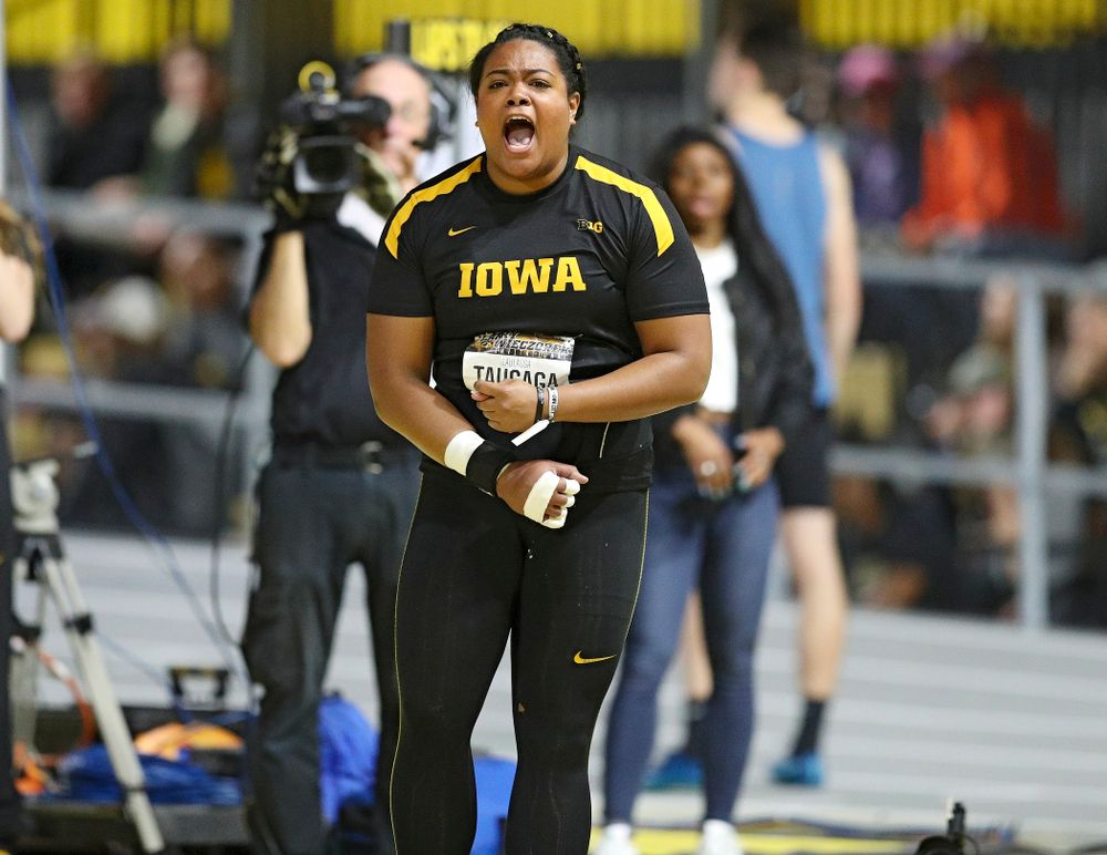 Iowa's Laulauga Tausaga is pumped up after making a throw in the women's shot put premier event during the Larry Wieczorek Invitational at the Recreation Building in Iowa City on Friday, January 17, 2020. (Stephen Mally/hawkeyesports.com)